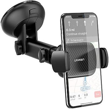 UGREEN Soporte Celular Auto, Soporte Movil Automatico Coche de Ventosa para Parabrisas y Salpicadero, Soporte Móvil para iPhone 11/11 Pro/ 11 Pro MAX/XR/XS/X/ 8, Motorola,Samsung, Xiaomi, Huawei