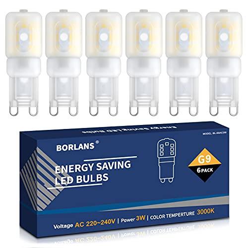 G9 LED 3W Lampen Warmweiß 3000K, LED Leuchtmittel, LED Birnen Glühbirne Ersatz für 25W Halogenlampen AC220-240V, Kein Flackern Nicht Dimmable Energiesparlampe, 6er Pack [Energieklasse A+]