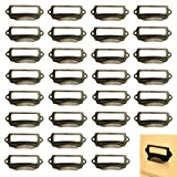 Office Library File Drawer Tag Frame Label Holder Pull Handle 30Pcs (Brass)