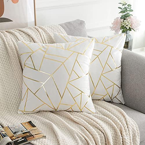 Cubierta de Cojín Blanco y Dorado 40x40 Cojín Decorativo Geométrico Juego de Cama de 2 Terciopelo Cuadrado Cubierta de Almohada Moderna 16x16 para Sala de Estar Dormitorio Sofá