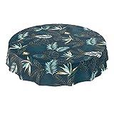 Wachstuchtischdecke abwaschbar Garten Tischdecke Wachstuch Rund Oval Eckig Indoor Outdoor Blätter Gold Blau 100x140cm - 8