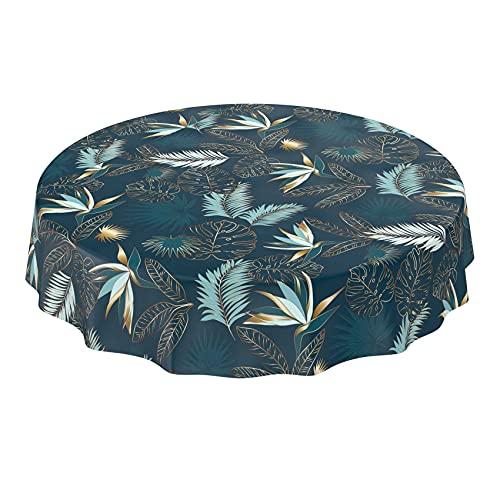 ANRO Wachstuchtischdecke abwaschbar Garten Tischdecke Wachstuch Rund Oval Eckig Indoor Outdoor Blätter Gold Blau Rund 140cm