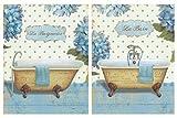 Cuadros de baño le Bain le baignoire bañeras sobre Madera. Set de 2 Unidades de 19 cm x 25 cm x 4 mm unid. Adhesivo FÁCIL COLGADO. Adorno Decorativo. Decoración Pared hogar
