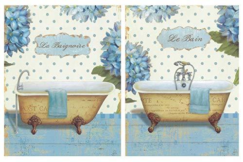 Dcine Cuadro de baño le Bain le baignoire bañeras. Set de 2 Unidades de 19x25 cm Cada uno