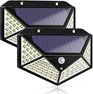 Komak LED Solar Lights Outdoor,100LED Solar Motion Sensor Lights Outdoor Pathway/Garden,Automatic Turn on at Night,Waterproof Solar Outdoor Angel Wall Light for Gate,Yard,Garage (2 Packs)
