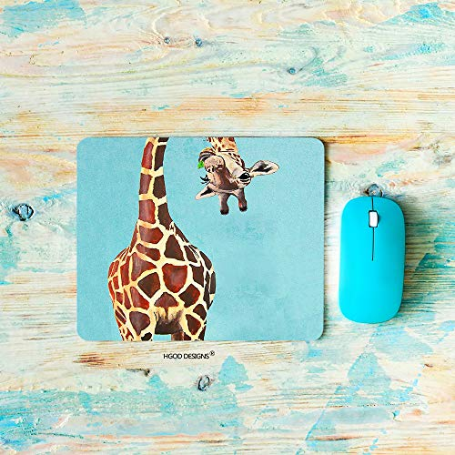 HGOD DESIGNS Gaming Mouse Pad Giraffe,Funny Cartoon Giraffe Licking Head Mousepad Rectangle Non-Slip Rubber Mouse Pads(7.9'X9.5')