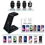 Amugpill Wireless Charger,3 in 1 Qi Fast Charging Station Dock Compatible for Apple Watch, Airpods 2/Pro, Charging Stand for iPhone 12/11/Pro/Max/XR/XS/XS Max/X /8/8 Plus(with 18W Adapter) (Black)
