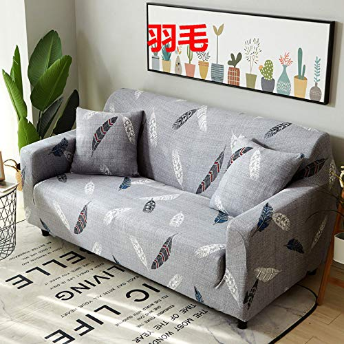 RFEGEF Slipcover Sofa Cover,Super Stretch Couch Cover Color White Feather Print Gray Universal Elastic Sofa Covers for Kids Dogs Pet Living Room Furniture Protector Friendly,M:140,180Cm(55,71Inch)