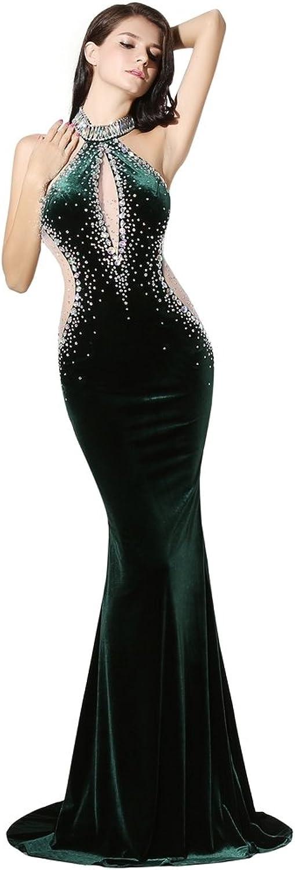 Engerla Women's Velvet Long Halter Rhinestone Backless Mermaid Dress for Evening