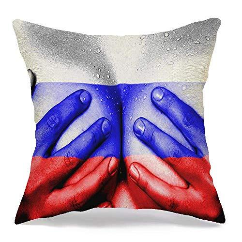 Funda de almohada decorativa de lino, patriota sudoroso, parte superior erótica, estado femenino joven, cuerpo, manos, personas, signos, persona, niña, símbolos, cómodo, cuadrado, cojín, funda, para,