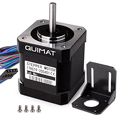 Quimat Nema 17 Stepper Motor Bipolar 2A 0.59Nm(84oz.in) 46mm Body 4-lead w/and Mounting Bracket Kit for 3D Printer/CNC