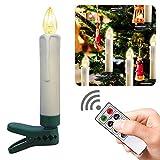 Boomersun10 candele a LED per albero di Natale, senza fili, luce bianca calda, telecomando, funzione timer, dimmerabili, candele di Natale