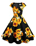 Hanpceirs Women's Cap Sleeve 1950s Retro Vintage Cocktail Swing Dresses with Pocket Sunflower M