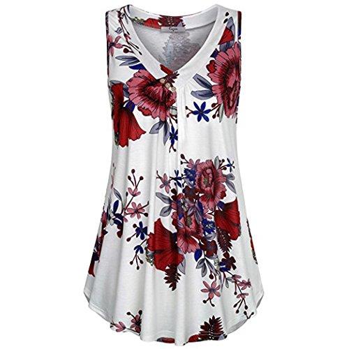 Chemises Toamen Gilet Femmes T-shirt Femmes Haut de bouton sans manches Bouton Impression de fleurs Nouvelle arrivee (XL, Blanc)