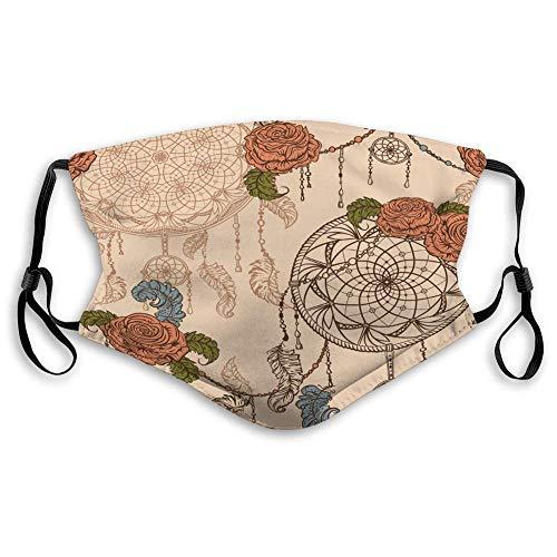 Verstelbare afdekking, wasbare herbruikbare mondbedekking, naadloos patroon, dromenvanger, rozenblaadjes voor reisafdekking