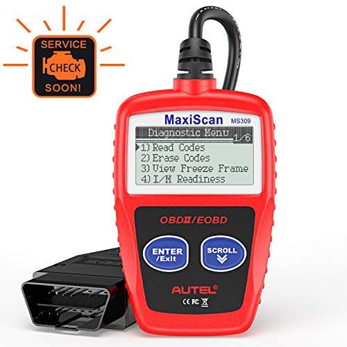 Autel MaxiScan MS309 OBD2 Engine Light Fault Code Reader, Reading & Erasing Codes, Viewing Freeze Frame Data and Retrieving I/M Readiness Smog CAN Diagnostic Scanner