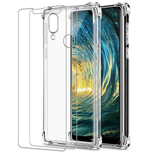 Cover per Huawei P20 Lite, [2 Pz Pellicola Protettiva in Vetro Temperato], Custodia Trasparente per Assorbimento degli Urti con Paraurti in TPU Morbido Compatibile Huawei P20 Lite 5.84 Pollici