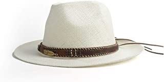 Hats and Caps Women Summer Hat Beach Straw Hat Panama Ladies Cap Fashionable Handmade Casual Flat Brim Sun Hats Leather Braided Girl Hat (Color : Khaki, Size : 56-58CM)