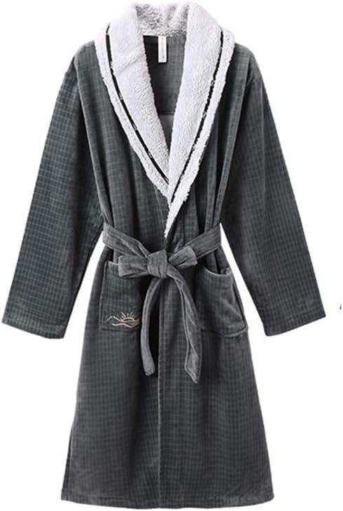 Robe Shower Men's Full Length Kimono Bathrobe Shawl Long Bathrobe House Coat Pajamas Robe Luxury Plush Robe Winter Gowns (Color : Grey, Size : X-Large)
