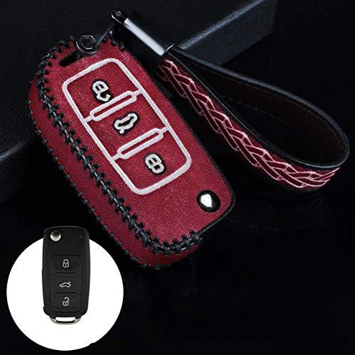 RTDFGH Funda protectora de cuero para llave de coche, para VW Golf Bora Jetta Polo Golf Passat para Skoda Octavia A5 Fabia para SEAT Ibiza Leon