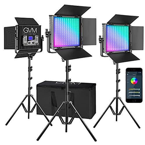 GVM RGB Video Lights with APP Control, 50W Full Color Studio Video Lighting Kit, Led Video Lights...