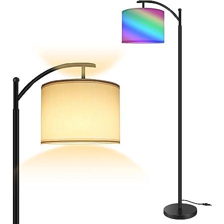 Lampadaire RVB, éclairage sur pied moderne avec commande tactile, 4 Températures de Couleur et luminosité réglables, Lampadaire abat-jour rotatif pour salon, chambre à coucher, bureau