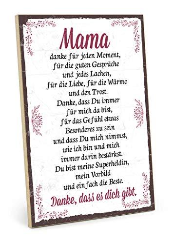 TypeStoff Holzschild mit Spruch – Danke Mama – im Vintage-Look mit Zitat als Geschenk und Dekoration zum Thema Liebe, Mutter und Familie (19,5 x 28,2 cm)