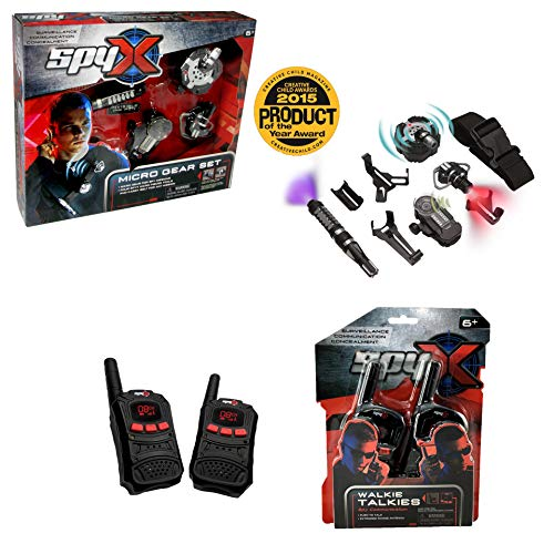 MUKIKIM SpyX/Micro Gear Set + Walkie Talkies - 4 Must-Have Spy Tools Attached to an Adjustable Belt + 2 Player Buddy Play Walkie Talkies! Jr Spy Fan Favorite & Perfect for Your Spy Gear Collection!