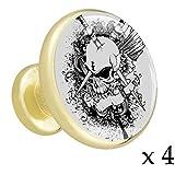 Crâne gris et épée Bouton de tiroir placard Poignées de porte de meuble en or métal doré avec verre de cristal pour la commode penderie porte(paquet de 4) 3.2x3x1.7cm