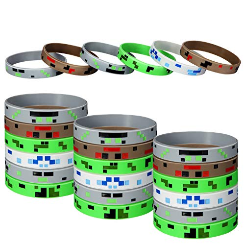 12 Pieces Pixelated Miner Style Character Wristband Bracelets Silicone Wristbands, Pixelated Theme Bracelet Designs for Mining Themed Style Party Supplies