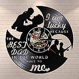 BFMBCHDJ Soy Afortunado Porque el Mejor papá del Mundo para mí Vinyl LP Record Reloj de Pared Negro Reloj Colgante Regalo del día del Padre