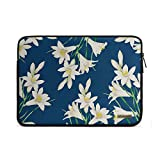 "DailyObjects White Lillies Canvas Zippered Sleeve for 13.3"" Laptop/MacBook"