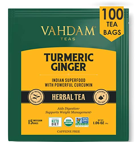 VAHDAM, Turmeric + Ginger POWERFUL SUPERFOOD Herbal Tea, 100 Count | Turmeric Tea | Herbal Tea Bags | POWERFUL Wellness & Healing Properties of TURMERIC TEA with GINGER | Immune Support | Detox Tea