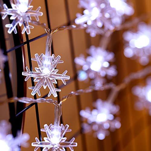 10ft 30 LED Schneeflocke Led Lichterketten, Lichter mit 8 Flimmer-Modi, Fernbedienung und Timer für Hochzeit, Weihnachten, Geburtstagsfeiern, DIY Haus Mantel Dekoration (Schneeflocke)