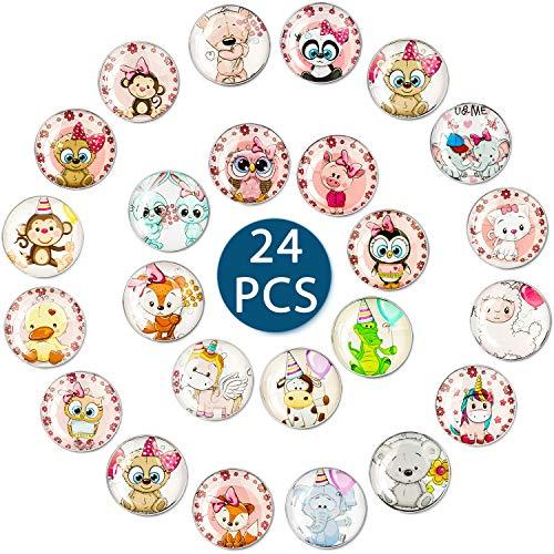 Imanes Nevera 24Pcs,Imanes Nevera Niños Bonitos Animales,Imanes Pizarra Magnetica,Imanes de Nevera de Cristal 3D,para Nevera,Pizarras Blancas, Armarios de Oficina,Pizarras Magnéticas,Regalos Niños