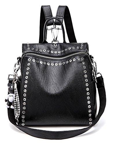 Ghlee Mädchen echtes Leder Rucksack Persönlichkeit Nieten Frauen Rucksack Schultertasche Multifunktions 3 Wege zu tragen (schwarz)