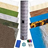 RPG Battle Game Mat - 6 Pack Dry Erase Double Sided 36' x 48' (12 Terrains) + 4 Dry Erase Markers + 1 Eraser + 7pc Polyhedral Dice Set - Large Table Top Role Playing Map for Starters and Masters