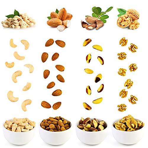 Nüsse Großpackung 800 g – Walnusskerne, Cashewkerne, Paranüsse, Mandeln – 4er Pack je 200 g – Vegane Lebensmittel – Nussmischung zum Genießen für zu Hause und Unterwegs