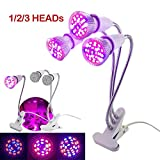 XiaoOu 3 Head Plant Grow Light Full Spectrum Box Tent Room Phyto Lamps Indoor Cultivo Flower Bloom Growing Greenhouse For Home Indoor,3-Head Set,18 LED Full Spectrum