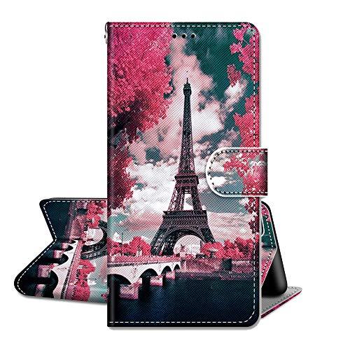 QC-EMART Funda para Nokia 1.4 Flip Wallet, funda de teléfono elegante Paris a prueba de golpes Funda protectora de piel sintética con tarjetero cierre magnético 360 parachoques para Nokia 1.4