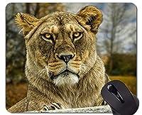 ティグロンホワイトタイガーワイルドキャット動物園動物マウスパッド、ステッチされたエッジを持つ自然マウスパッド