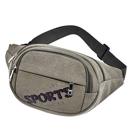 Yesmile Paquetes de Cintura Moda Lona Unisex Color sólido Casual Deportes Bolsillos Bandolera Riñonera Deportiva para Mujer Hombre Bolso de Cintura Running Riñoneras de Moda Casual