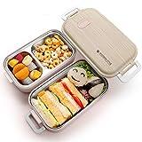 Jelife Bento Box Kinder Lunchbox Brotdose mit 3 Unterteilungen Zweilagig Edelstahlbehälter für Schule Arbeit Picknick Reisen Unterwegs Spülmaschinegeeignet Pink