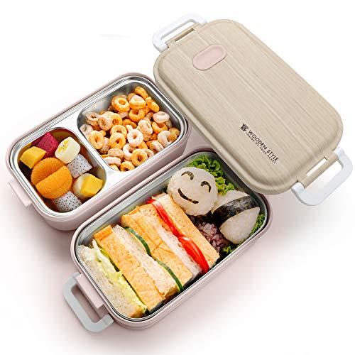 Jelife Porta Pranzo 2 Strati Lunch Box Scatola Bento Contenitori Ermetici Termici per Bambini Adulti Alimenti Microonde Scuola Ufficio