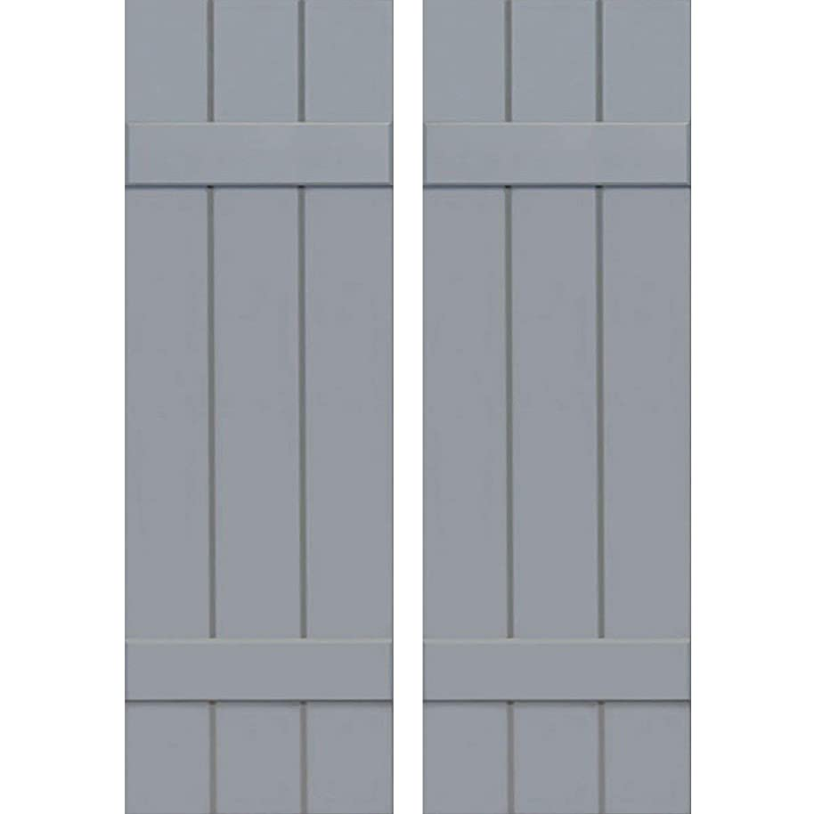 Ekena Millwork CWB12X025UNC Exterior Three Board Composite Wood Board-N-Batten Shutters with Installation Brackets (Per Pair), Unfinished, 12