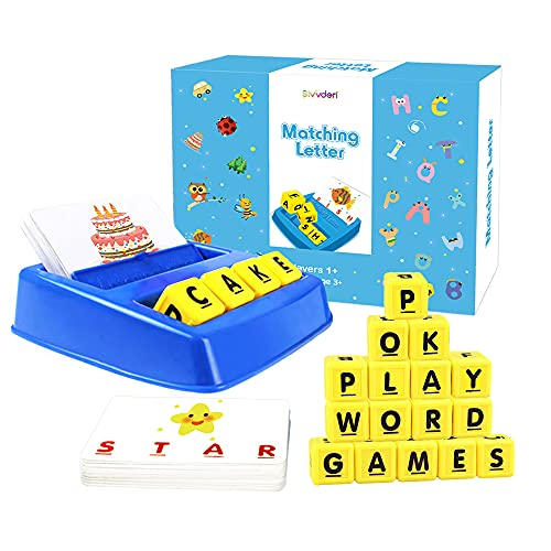 Educational Toys, Alphabet Learning Toys Flash Card Game for Toddlers 3 4 5 Year Old Preschool Matching Letter Spelling Reading Games for Kids 3-8 Years Old Boys Girls Birthday Christmas Gift