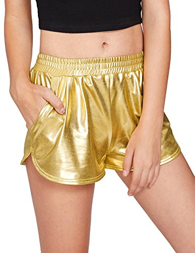 SweatyRocks Women's Yoga Hot Shorts Shiny Metallic Pants Gold L
