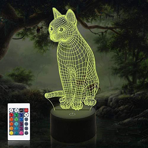 Lámpara de ilusión 3D LED de luz nocturna de gato para niños regalos de día festivo regalo de Navidad cumpleaños regalo de juego ventilador