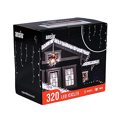 ANSIO Carámbano luces 320 LED luces de árbol Blanco Brillante interior y exterior luces de Navidad cadenas, powered luces cadena 11m/36ft Lit longitud con cable Blanco de cable de plomo
