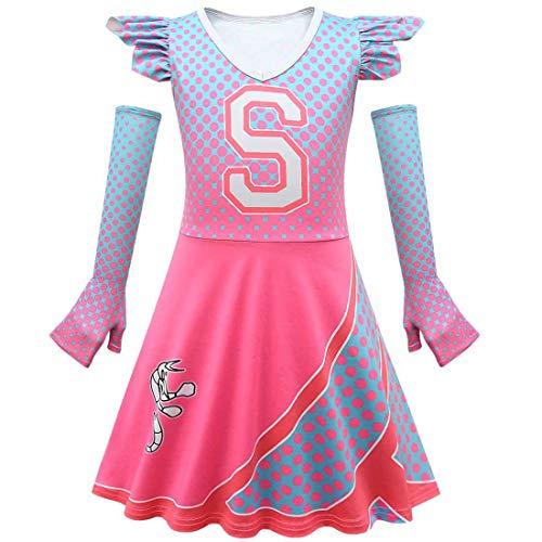 Tsyllyp Girls Addison Cheerleader Costume Cheer Dancer Dress for Halloween Birthday Party with Sleeves